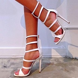 Sexy White Stiletto High Heel Sandals