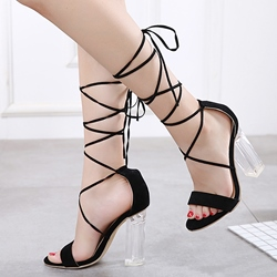 Jelly Sexy Lace Up High Heel Sandals