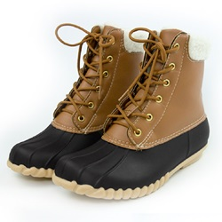 Casual Block Heel Lace-Up Color Block Duck Boots