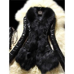 Faux Fur Standard Straight Winter Women's PU Jacket