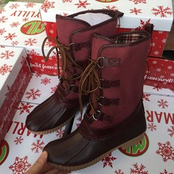 Burgundy Lace-Up Front Block Heel Women's Duck Boots