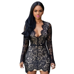 Backless Lace V-Neck Long Sleeve Bodycon Dresses