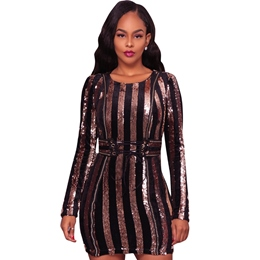 Stripe Sequins Lace-Up Long Sleeve Bodycon Dresses