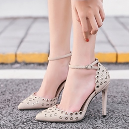 Hollow Line-Style Buckle Stiletto Heels