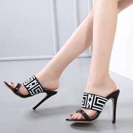 High Stiletto Heel Stripe Sandals