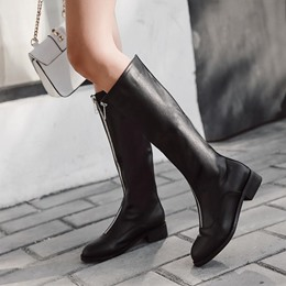Front Zipper Flat Block Heel Knee High Boots