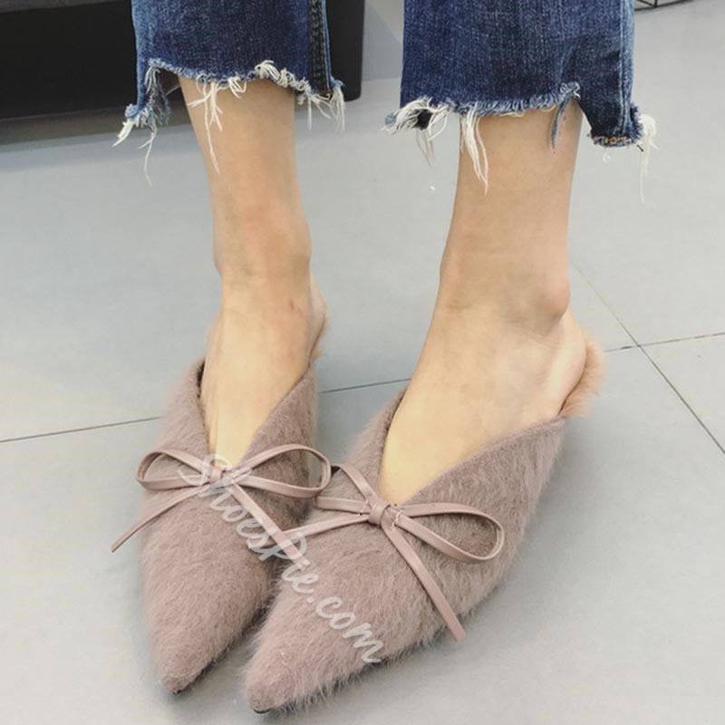 Sexy Pointed Toe Bowknot Stiletto Heel Mule Shoes