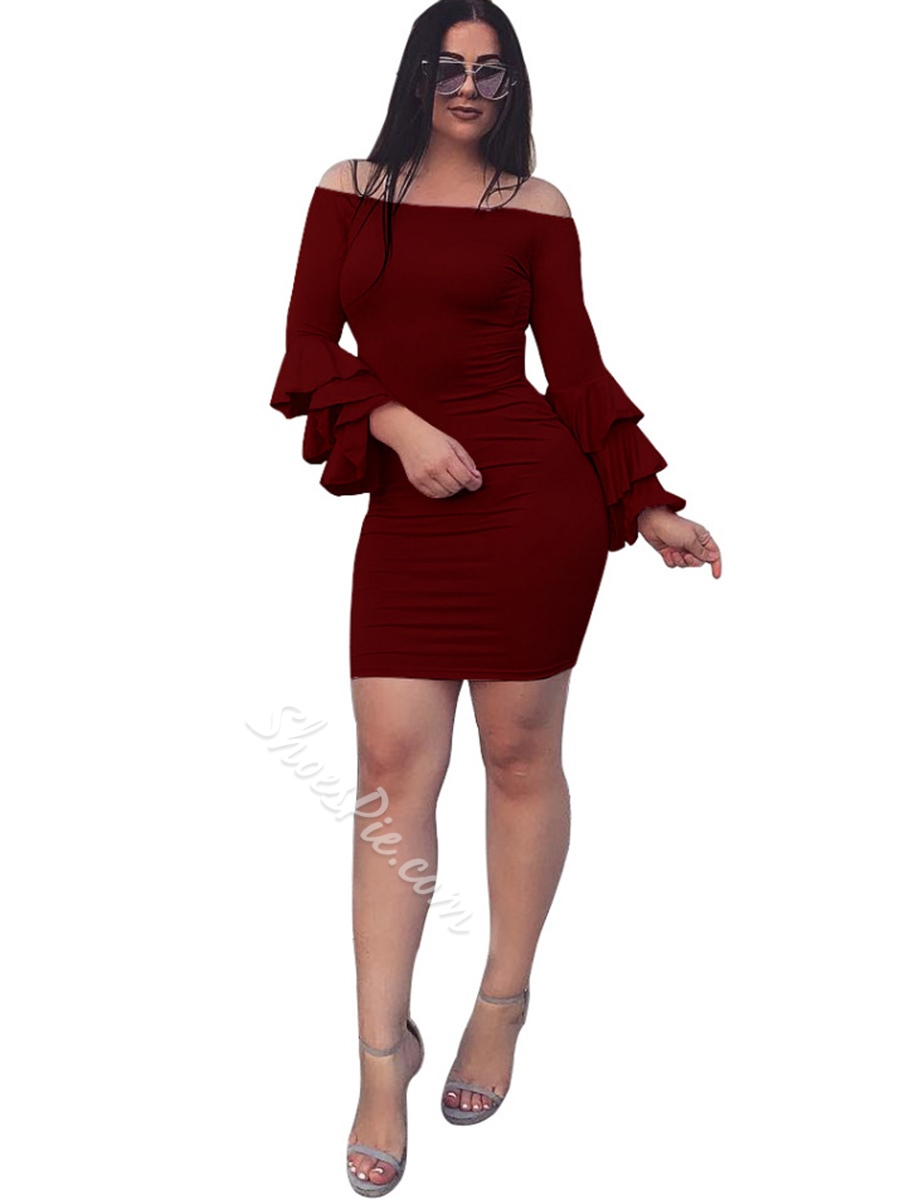 Slash Neck Falbala Pleated Bodycon Dresses