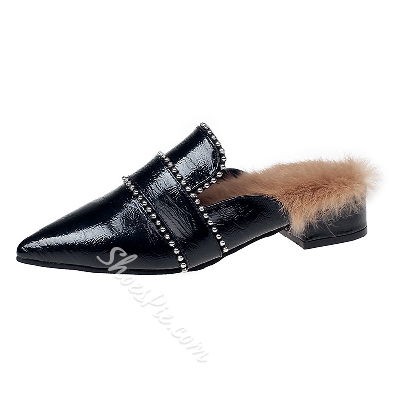 Shoespie Pointed Toe Block Heel Sexy Loafers