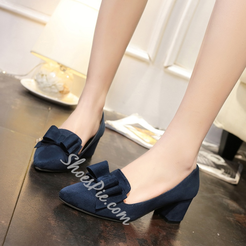 Shoespie Pointed Toe Chunky Heel Bow Loafers