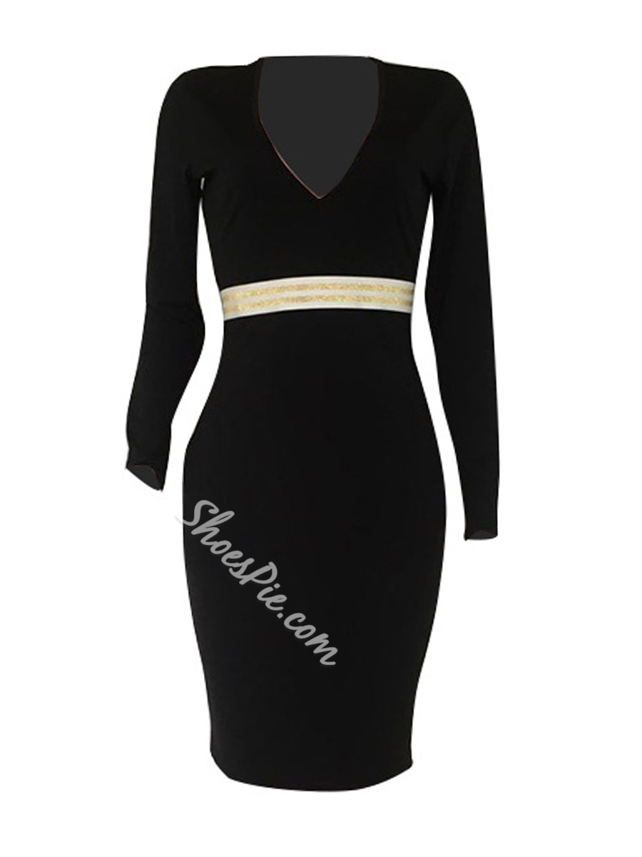 Sexy V-Neck Long Sleeve Bodycon Dresses
