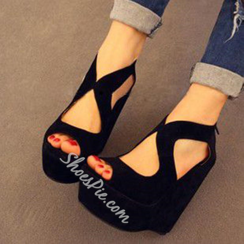 Sexy Peep Toe High Wedge Heel Sandals