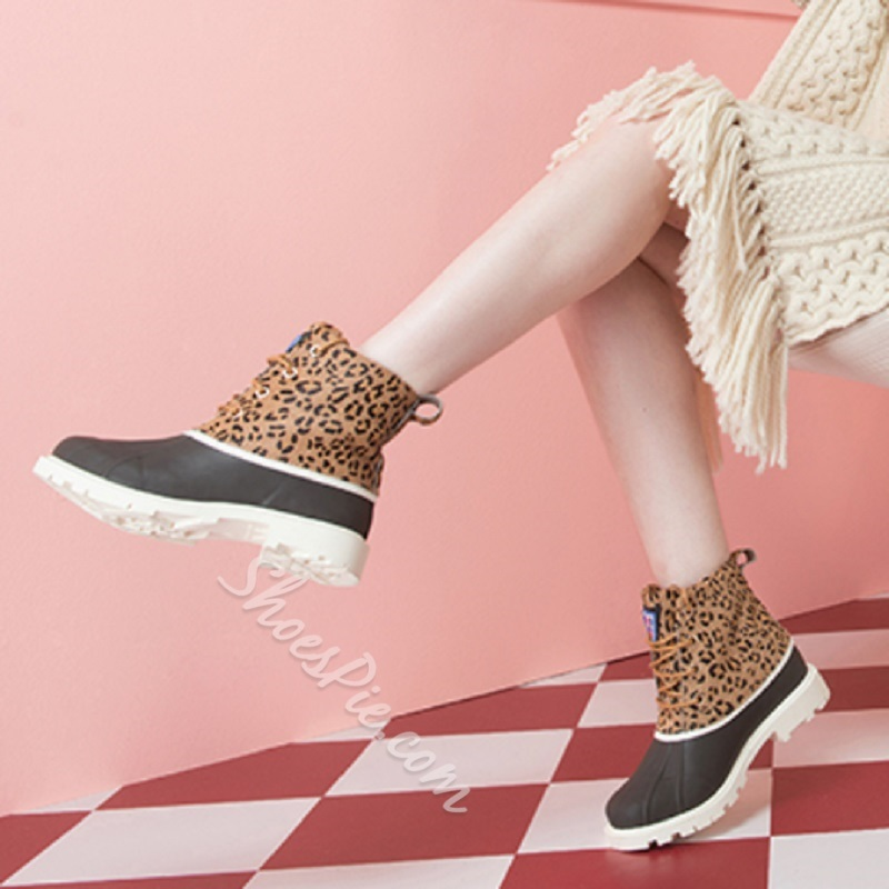 Casual Block Heel Leopard Lace-Up Duck Boots