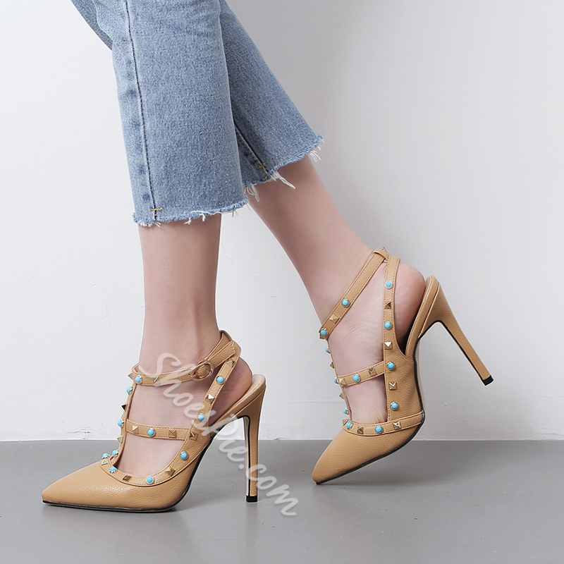 Shoespie Strappy Rivet Stiletto Heels