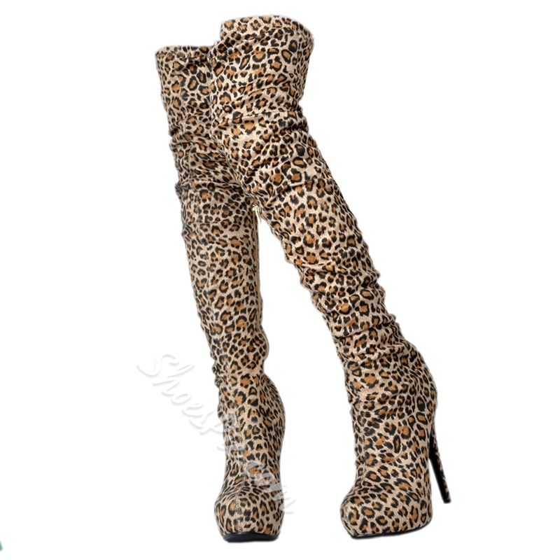 Shoespie Leopard Platform Stiletto Heel Thigh High Boots