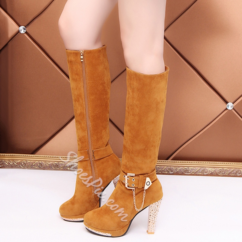 Platform Chunky Heel Fashion Knee High Boots