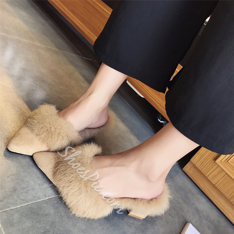 Shoespie Sexy Short Floss Chunky Heel Mules
