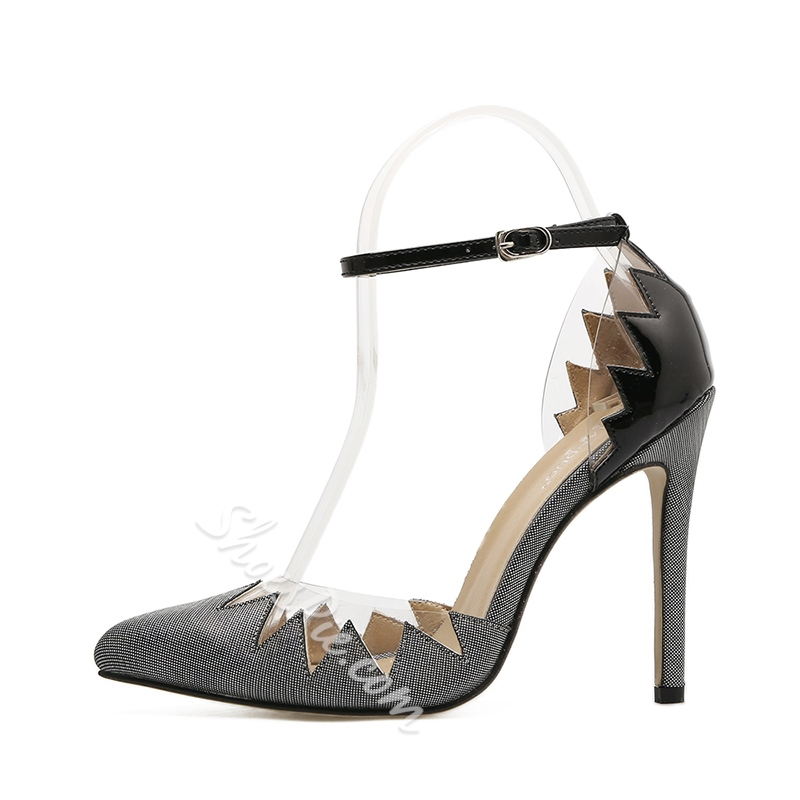 Line-Style Buckle Color Block Stiletto Heels