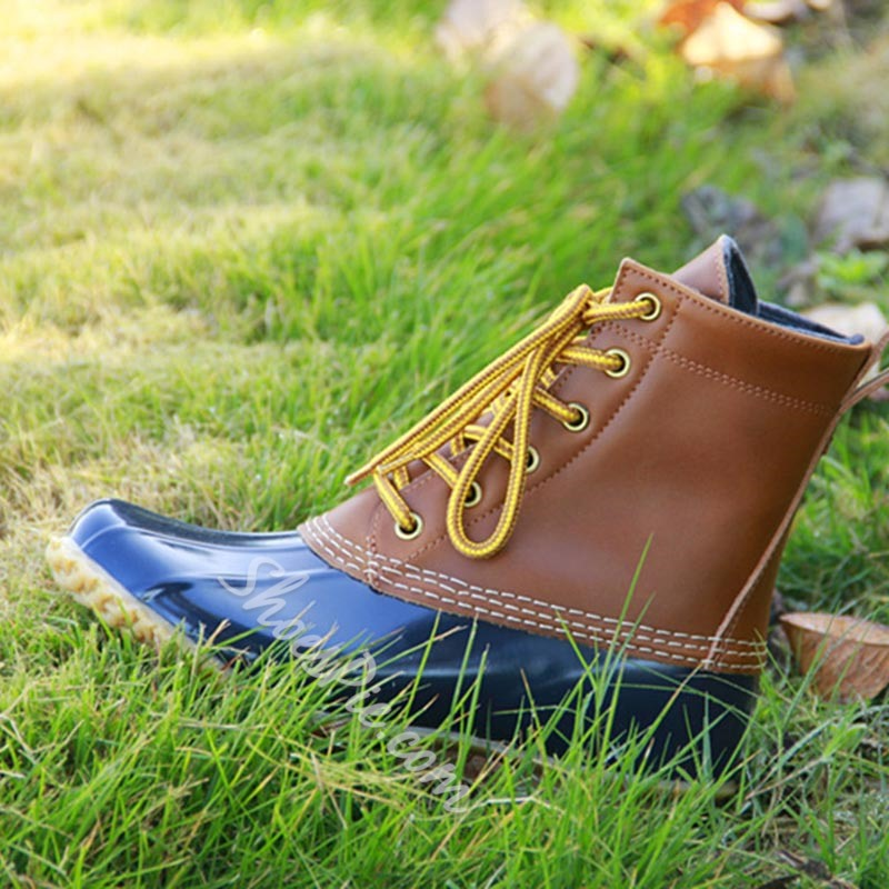 Lace-Up Color Block Block Heel Front Duck Boots