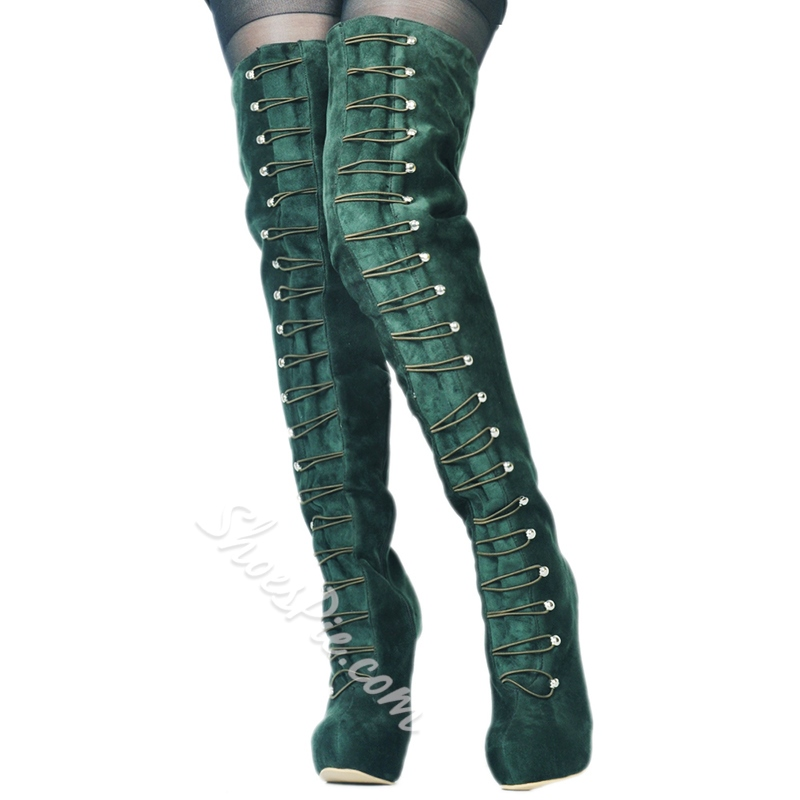 Shoespie Green Platform Stiletto Heel Thigh High Boots