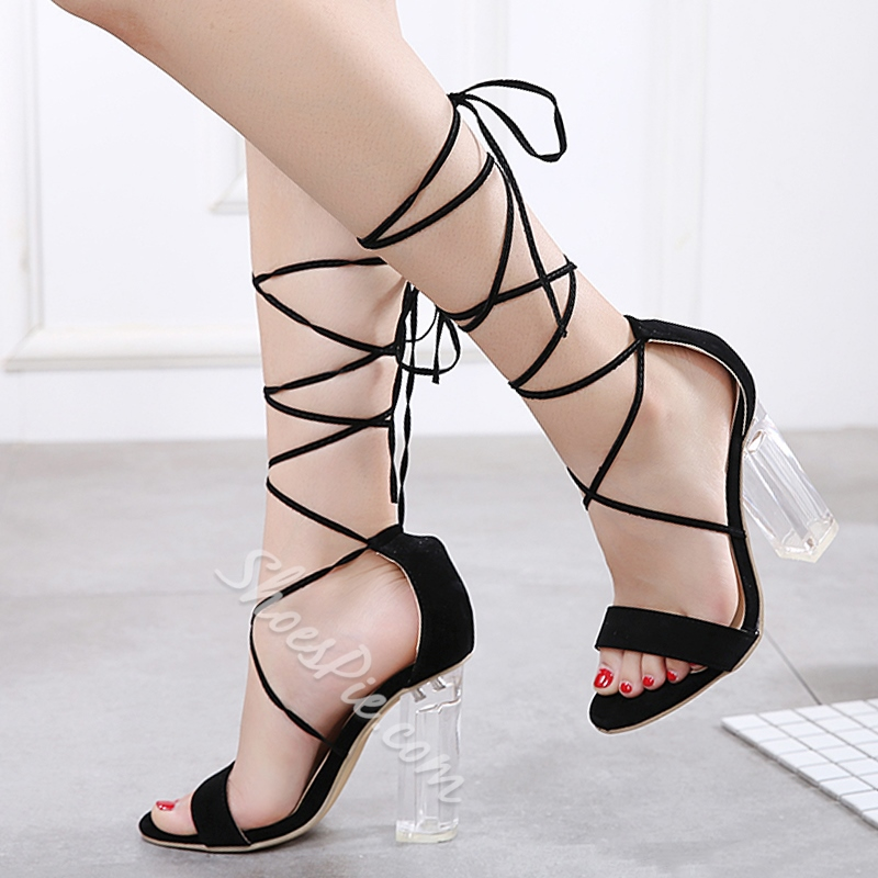 Sexy Lace Up Chunky Heel Dress Sandals
