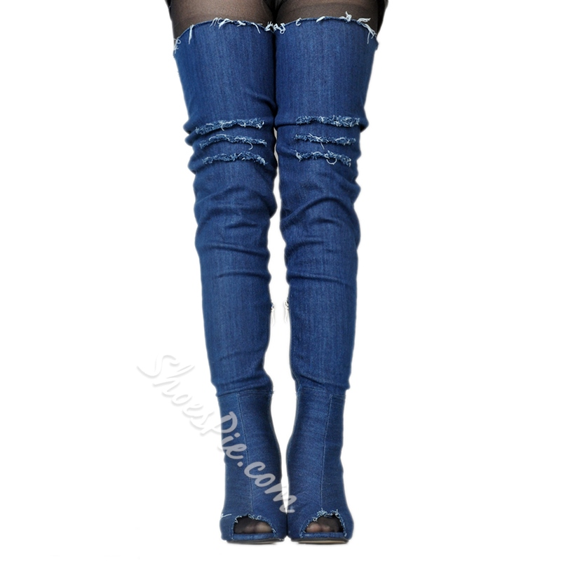 Hollow Worn Peep Toe Stiletto Heel Thigh High Boots