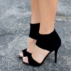 Shoespie Open Toe Black Stiletto Heels
