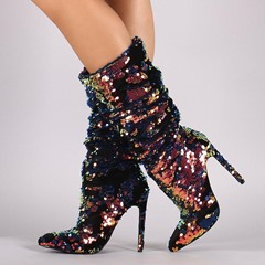 Glitter Slip-On Stiletto Heel Fashion Boots