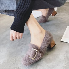 Short Floss Buckle Chunky Low Heels