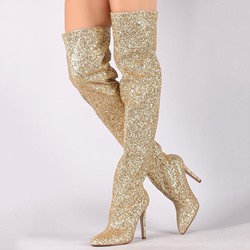 Shoespie Slip-On Stiletto Heel Glitter Thigh High Glitter Boots