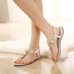 Rhinestone Strappy Thong Flat Sandals
