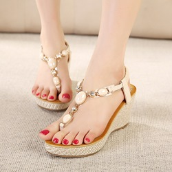 Thong Rhinestone Wedge Heel Sandals