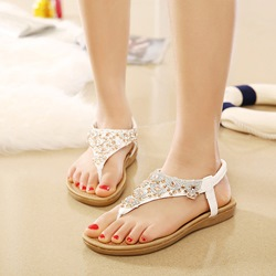 Shoespie Rhinestone Casual Thong Flat Sandals