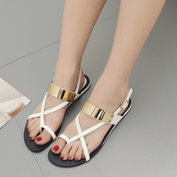Shoespie Strappy Buckle Flat Sandals