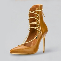 Stiletto Heel Lace-Up Front Women's Boots