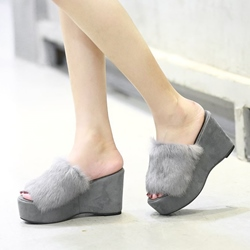 Platform Mid-Heel Winter Slippers