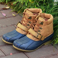 Casual Color Block Lace-Up Duck Boots