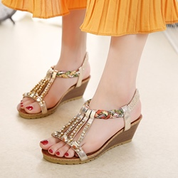 Shoespie Rhinestone Strappy Wedge Heel Sandals