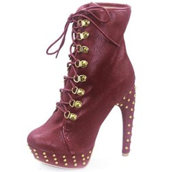 Lace-Up Rivet Chunky Heel Platform Boots