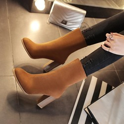 Fashion Chunky Heel Round Toe Boots