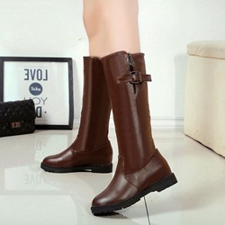 Fashion Buckle Hidden Elevator Heel Flat Knee High Boots