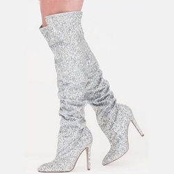 Shoespie Glittery Stiletto Heel Knee High Boots