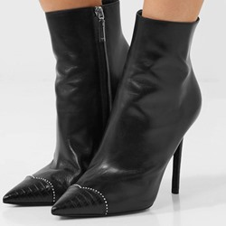 Black Stiletto Heel Fashion Ankle Boots