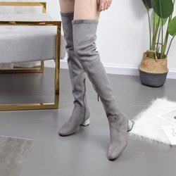 Chunky Hee Suede Round Toe Thigh High Boots