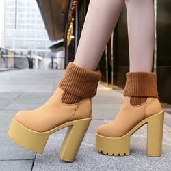 Chunky Heel Platform Scck Boots