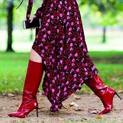 Sexy Red Stiletto Heel Knee High Boots