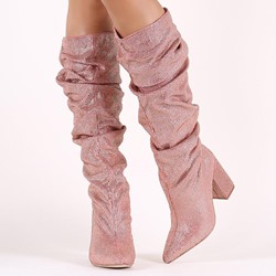 Shoespie Pink Glitter Chunky Heel Knee High Boots