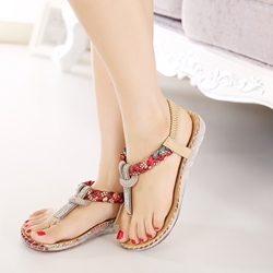 Strappy Rhinestone Casual Sandals