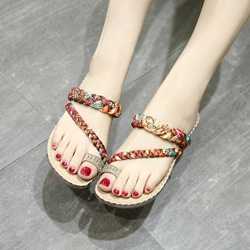 Rhinestone Slip-On Toe Ring Sandals