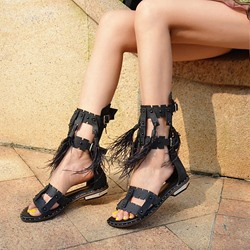 Shoespie Rivet Fringe Buckle Sandals